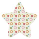 Colorful Fun Circles and Polka Dots Pattern Star Stickers