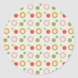Colorful Fun Circles and Polka Dots Pattern Round Sticker