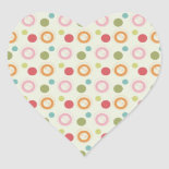 Colorful Fun Circles and Polka Dots Pattern Heart Stickers