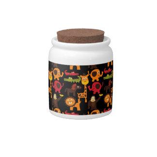 Colorful Fun Cute Jungle Village Safari Zoo Animal Candy Jar