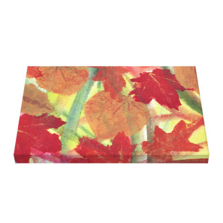 Colorful Fun Fall Autumn Leaves Wrapped Canvas