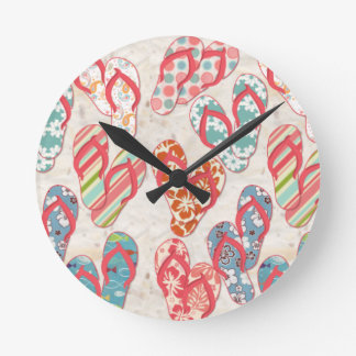 Colorful & fun flip flop summer fun! round clock