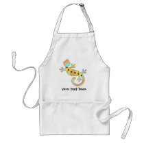 Colorful Fun Gecko Lizard Adult Apron