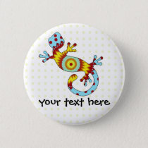 Colorful Fun Gecko Lizard Button