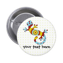 Colorful Fun Gecko Lizard Button