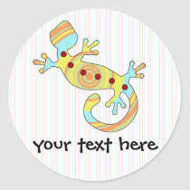 Colorful Fun Gecko Lizard Classic Round Sticker