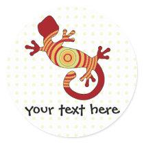 Colorful Fun Gecko Lizard Classic Round Sticker