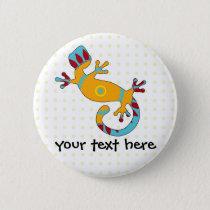 Colorful Fun Gecko Lizard Pinback Button