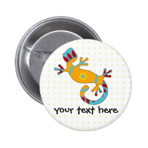 Colorful Fun Gecko Lizard Pinback Button