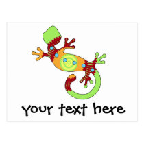 Colorful Fun Gecko Lizard Postcard