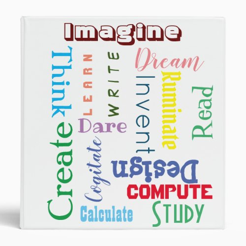 Colorful Fun Inspirational Words for Students 3 Ring Binder