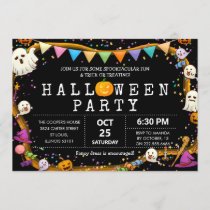 Colorful Fun Kids Halloween Party Invitation
