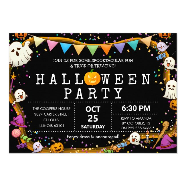 Colorful Fun Kids Halloween Party Invitation