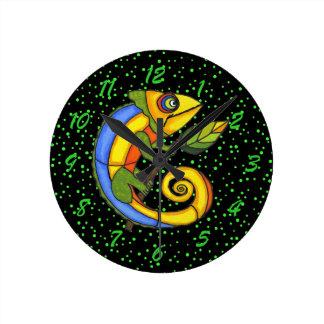 Colorful Fun Lizard Branch Dots Wall Clock