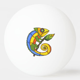 Colorful Fun Lizard Branch Dots Ping Pong Ball