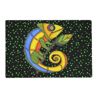 Colorful Fun Lizard Branch Dots Placemat