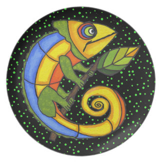 Colorful Fun Lizard Branch Dots Party Plate