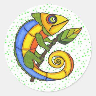 Colorful Fun Lizard Dots Classic Round Sticker