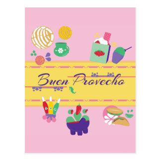 colorful fun Mexican food postcard