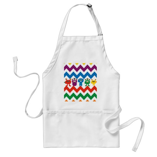 Colorful Fun Monsters Cute Chevron Striped Pattern Adult Apron