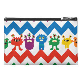 Colorful Fun Monsters Cute Chevron Striped Pattern Travel Accessory Bag