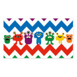 Colorful Fun Monsters Cute Chevron Striped Pattern Business Card Template