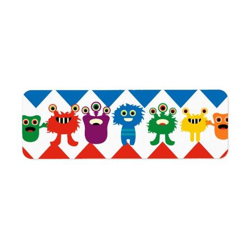 Colorful Fun Monsters Cute Chevron Striped Pattern Return Address Label