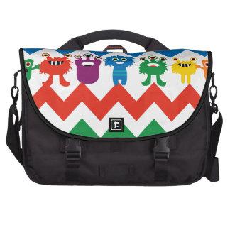 Colorful Fun Monsters Cute Chevron Striped Pattern Computer Bag