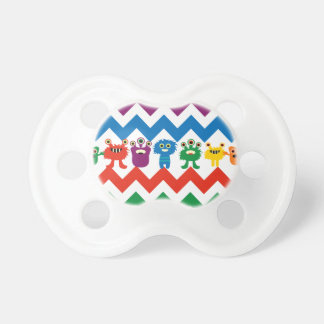 Colorful Fun Monsters Cute Chevron Striped Pattern Pacifier