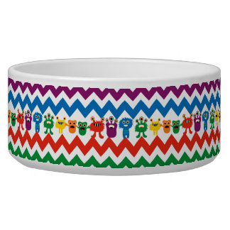 Colorful Fun Monsters Cute Chevron Striped Pattern Dog Bowls