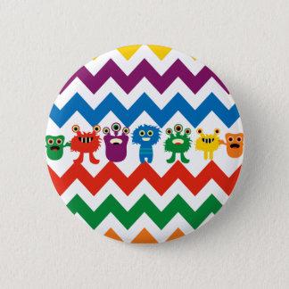 Colorful Fun Monsters Cute Chevron Striped Pattern Pinback Button