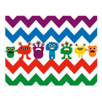Colorful Fun Monsters Cute Chevron Striped Pattern Postcard
