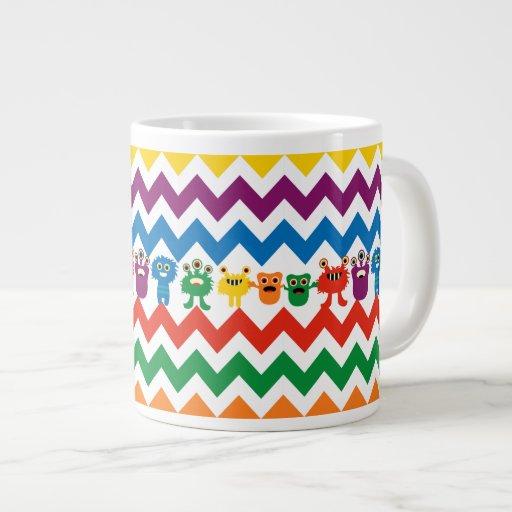 Colorful Fun Monsters Cute Chevron Striped Pattern Extra Large Mug