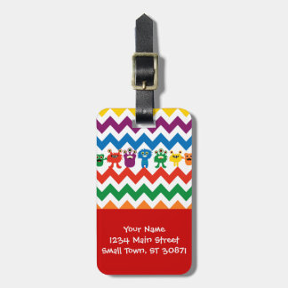 Colorful Fun Monsters Cute Chevron Striped Pattern Tag For Bags
