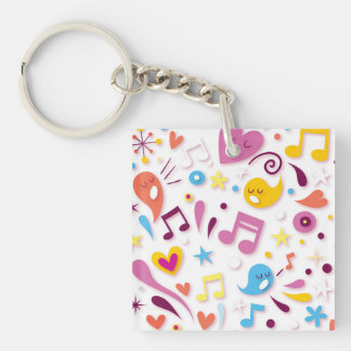 Colorful Fun Music Notes Keychain