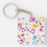 Colorful Fun Music Notes Single-Sided Square Acrylic Keychain
