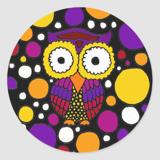 Colorful Fun Owl Abstract Original Classic Round Sticker