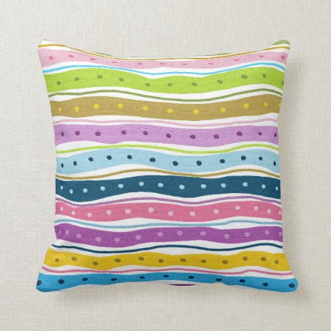 Colorful fun painted stripes and dots throw pillow