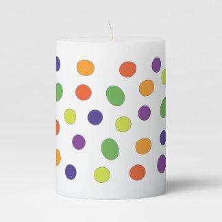 Colorful, fun polka dots pattern pillar candle