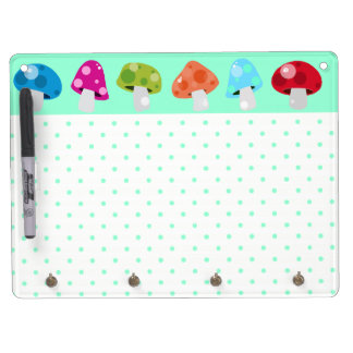 Colorful & Fun Polka Dots with Mushrooms Dry Erase Board With Keychain Holder
