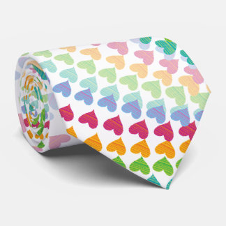 Colorful Fun Rainbow Hearts Sprinkle Whimsical Tie