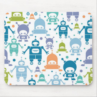 Colorful fun robots pattern mouse pad