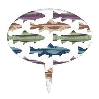 Colorful Fun Trout Fish Pattern Cake Topper