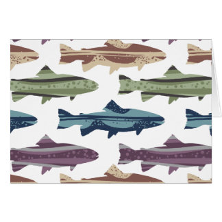 Colorful Fun Trout Fish Pattern Card