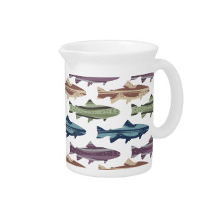Colorful Fun Trout Fish Pattern Drink Pitcher
