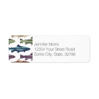 Colorful Fun Trout Fish Pattern Label