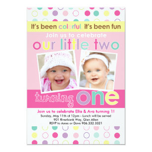 Twins first birthday invitations announcements zazzle colorful fun twin girls first birthday invitation filmwisefo