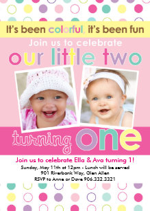 Twins first birthday invitations announcements zazzle colorful fun twin girls first birthday invitation filmwisefo Gallery