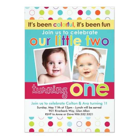 Colorful Fun Twins First Birthday Invitation Zazzle