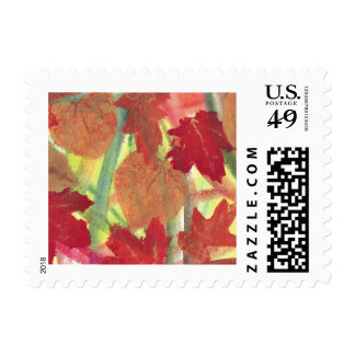 Colorful Fun with Fall Autumn Leaves Postage Stamp